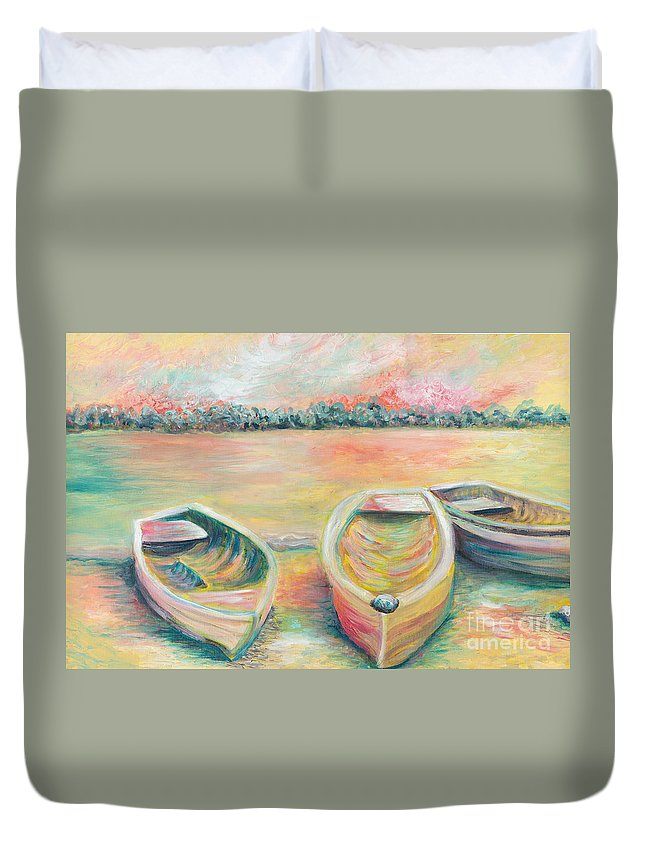 Boats Duvet Cover featuring the painting Summer Boats in Yellow by Nadine Rippelmeyer