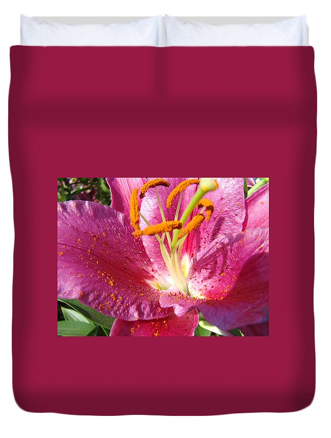 Lilies Duvet Cover featuring the photograph Summer Botanical Garden Art Pink Calla Lily Flower Baslee Troutman by Baslee Troutman