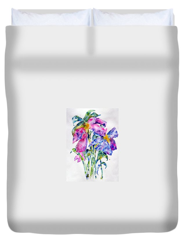 Floral Duvet Cover featuring the painting Summer Bouquet by Anne Duke