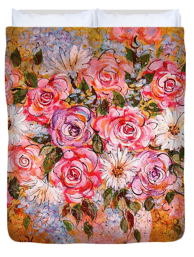 Flowers Duvet Cover featuring the painting Summer Bouquet by Natalie Holland