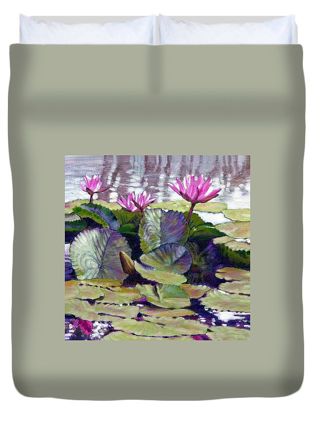Water Lilies Duvet Cover featuring the painting Summer Breeze by John Lautermilch