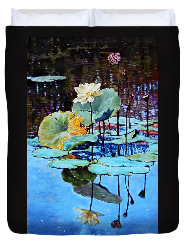 Lotus Flower Duvet Cover featuring the painting Summer Calm by John Lautermilch