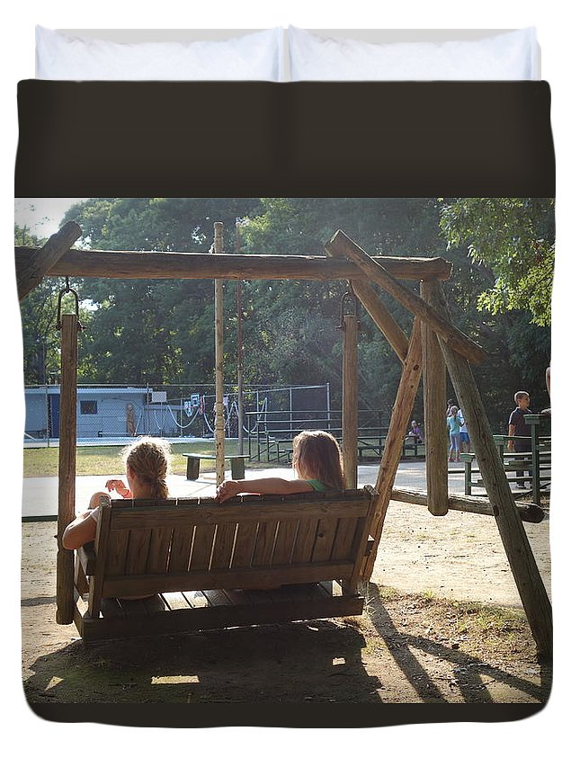 Camp Duvet Cover featuring the photograph Summer Camp Downtime by Rauno Joks