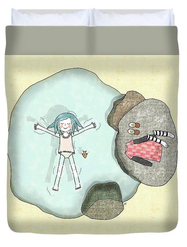 Summer Duvet Cover featuring the digital art Summer by Carolina Parada