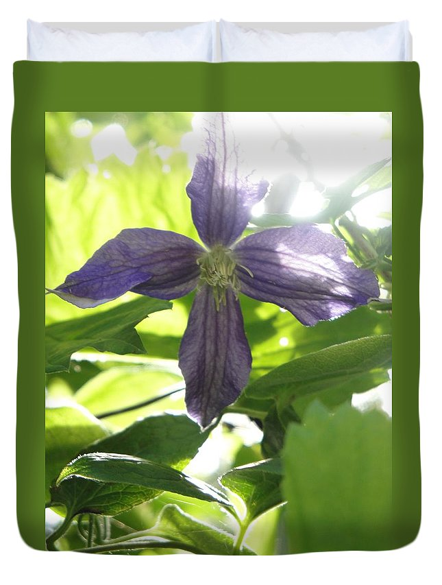 Flora Duvet Cover featuring the photograph Summer Clematis In Light Shade by Susan Baker