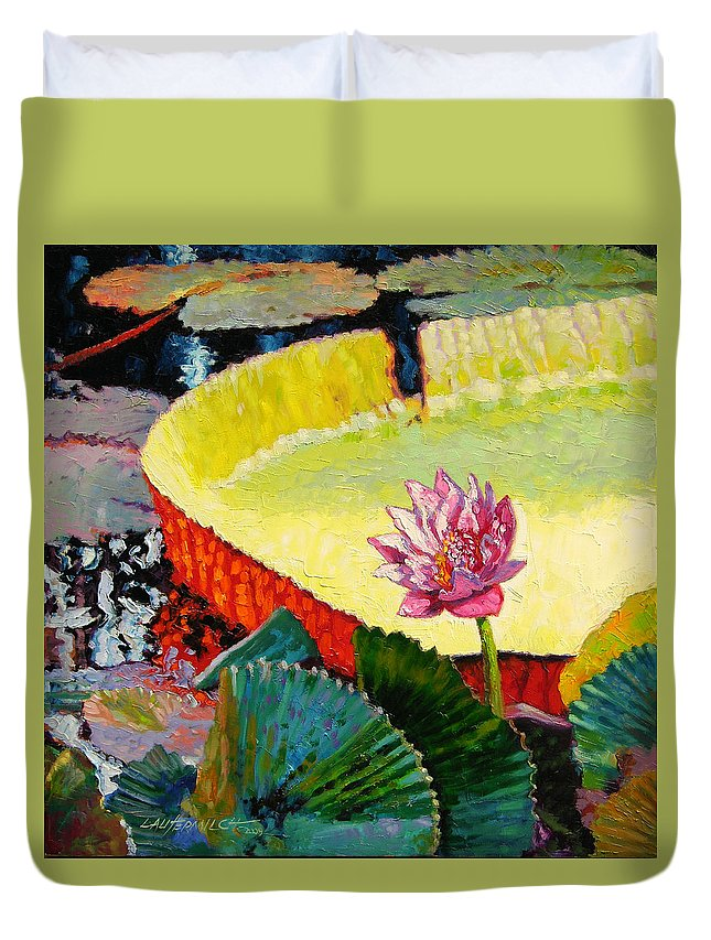 Water Lily Duvet Cover featuring the painting Summer Colors On The Pond by John Lautermilch