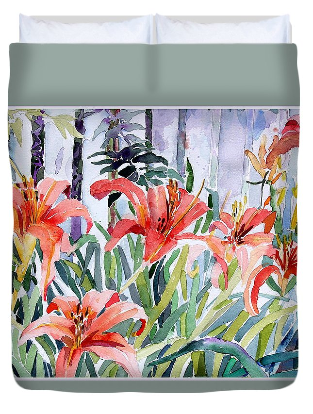 Day Lily Duvet Cover featuring the painting My Summer Day Liliies by Mindy Newman