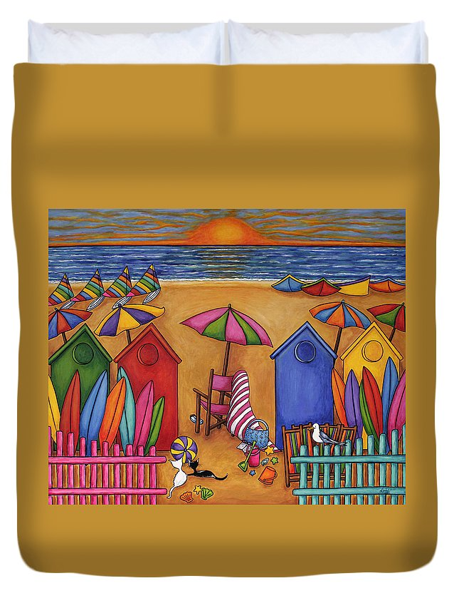 Summer Duvet Cover featuring the painting Summer Delight by Lisa Lorenz