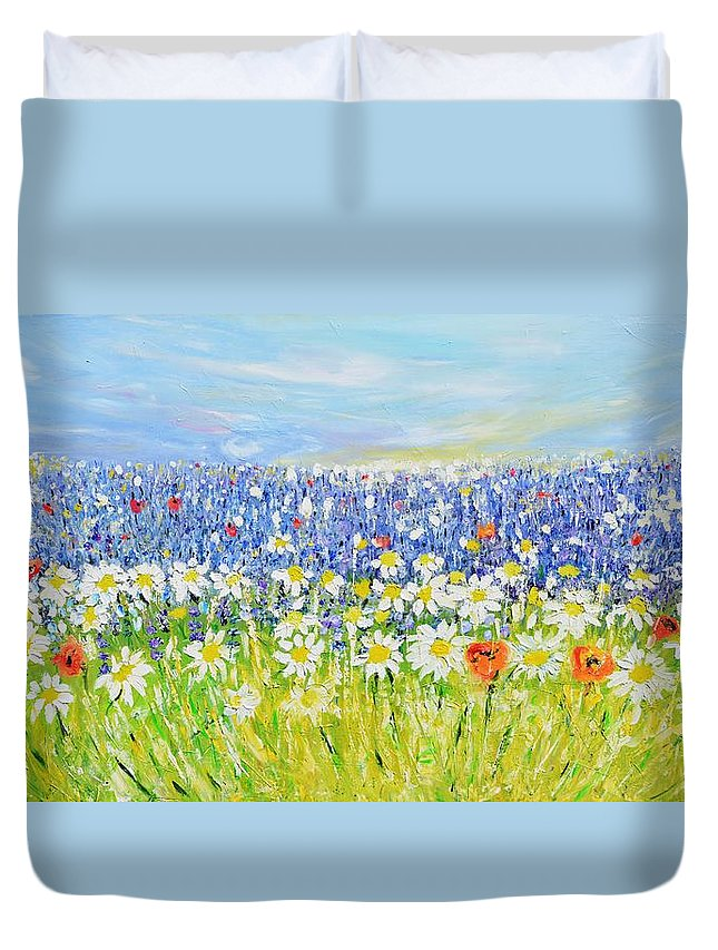 Glade Duvet Cover featuring the painting Summer Field by Evelina Popilian