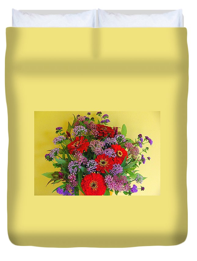 Still Life Duvet Cover featuring the photograph Summer Flower Bouquet by Byron Varvarigos