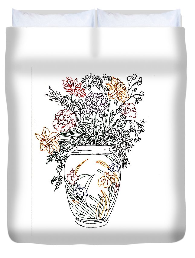 Sketch Of Flowers Duvet Cover featuring the drawing Summer Flowers by Connie Valasco