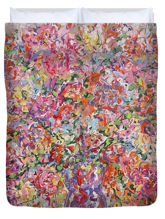 Painting Duvet Cover featuring the painting Summer Flowers by Leonard Holland