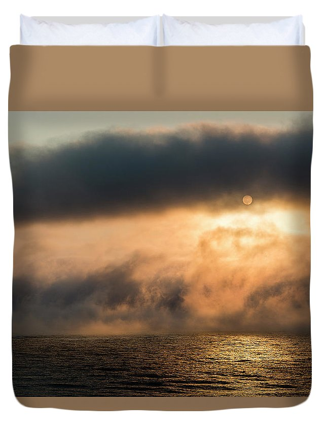 Arcadia Beach State Recreation Site Duvet Cover featuring the photograph Summer Fog by Robert Potts