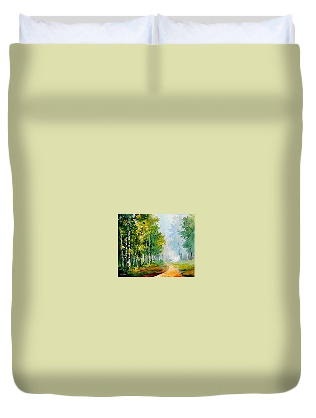 Afremov Duvet Cover featuring the painting Summer Forest by Leonid Afremov