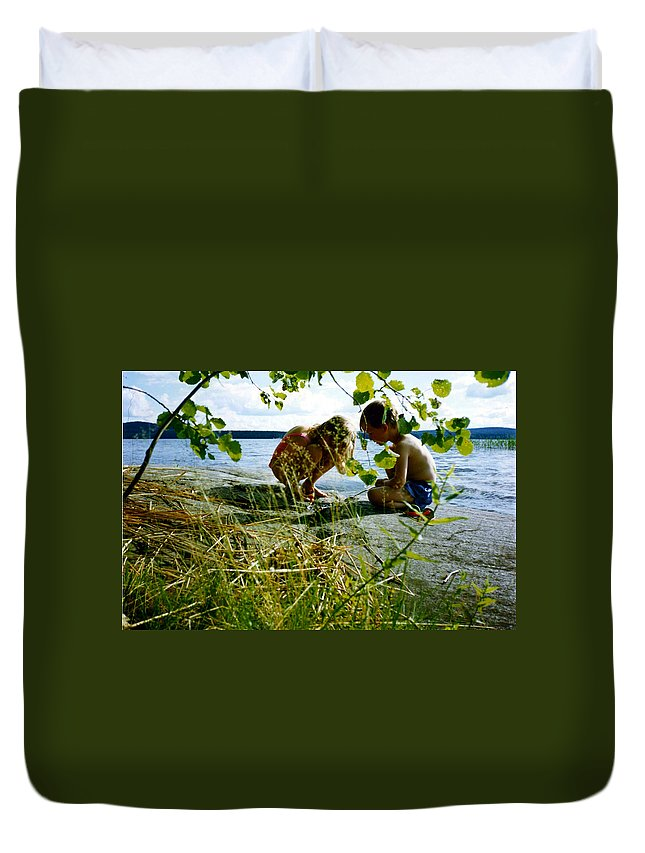 Kids Duvet Cover featuring the photograph Summer Fun In Finland by Merja Waters