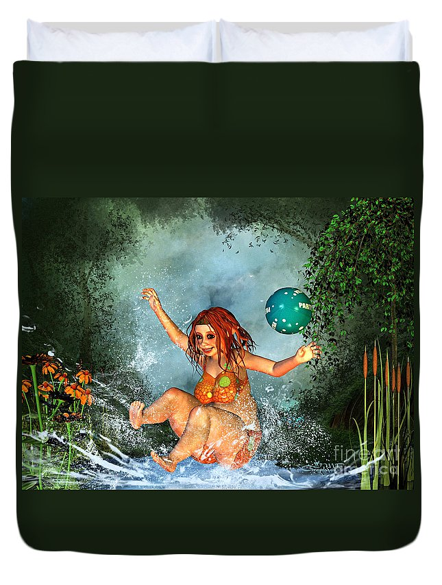 3d Duvet Cover featuring the digital art Summer Fun by Jutta Maria Pusl
