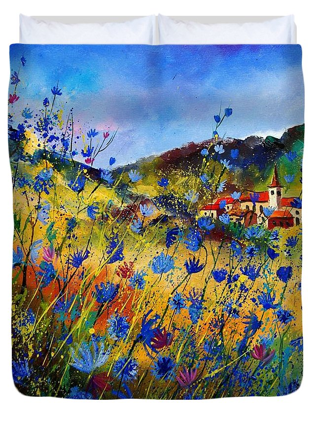 Flowers Duvet Cover featuring the painting Summer Glory by Pol Ledent