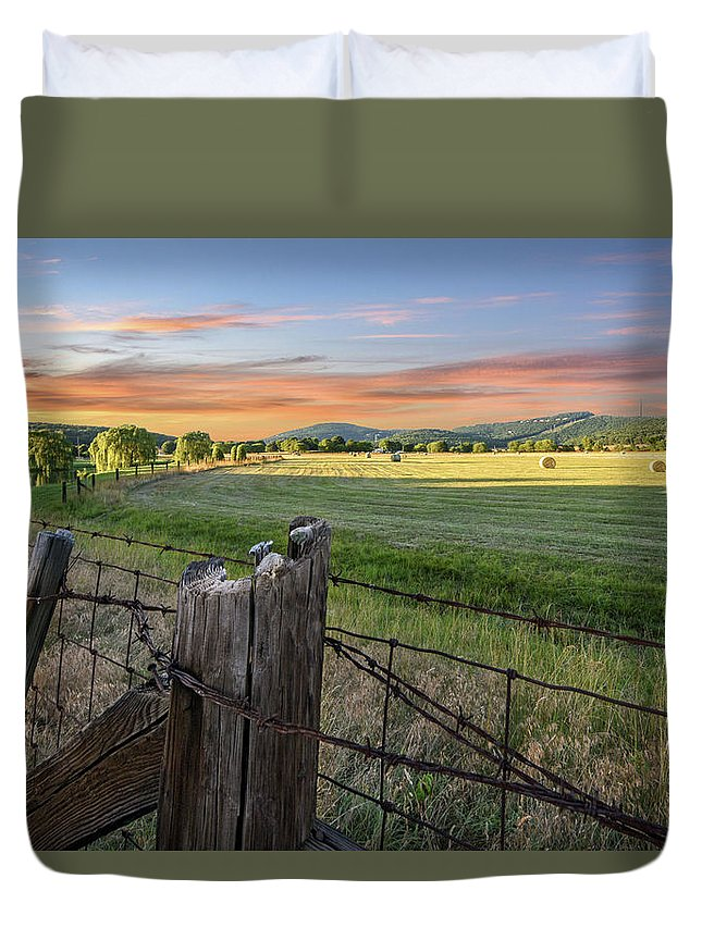 Huntsville Duvet Cover featuring the photograph Summer Hay Bales by Jeannee C Gannuch