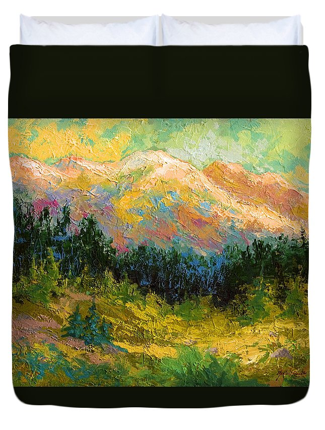 Alaska Duvet Cover featuring the painting Summer High Country by Marion Rose