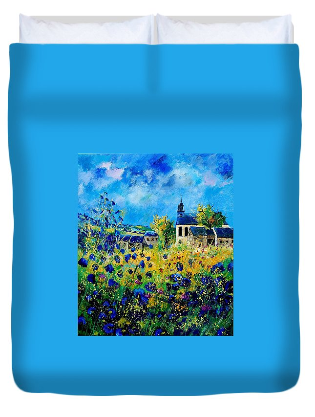 Poppies Duvet Cover featuring the painting Summer In Foy Notre Dame by Pol Ledent