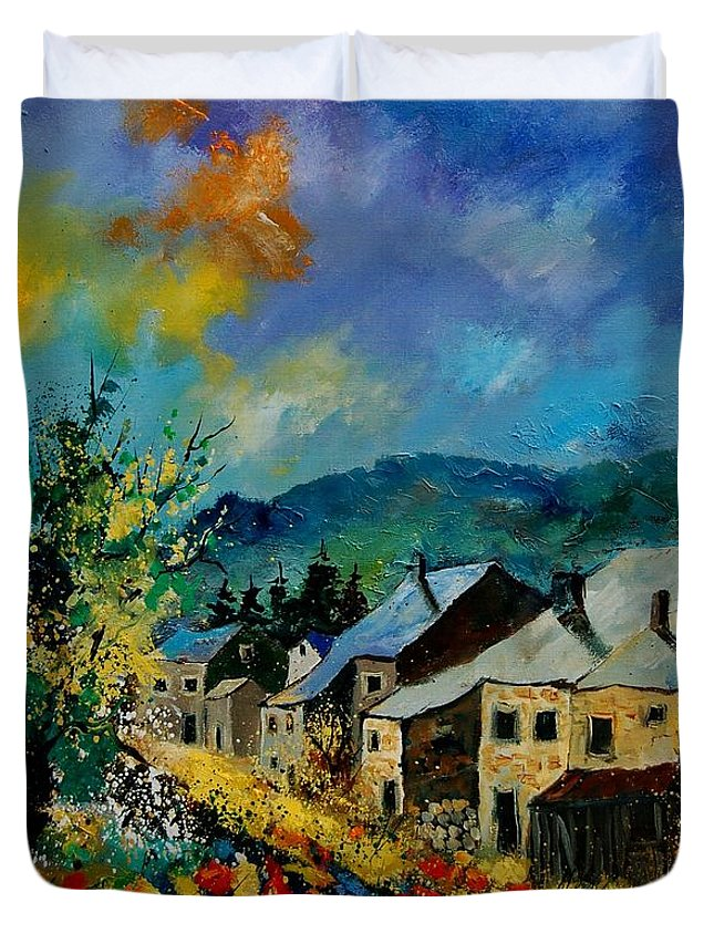 Poppies Duvet Cover featuring the painting Summer In Mogimont by Pol Ledent
