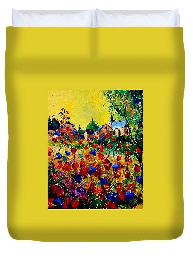Poppy Duvet Cover featuring the painting Summer in Sosoye by Pol Ledent