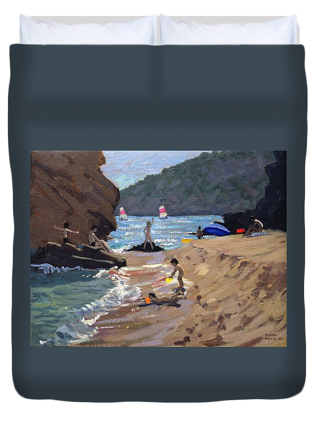 Resort Duvet Cover featuring the painting Summer In Spain by Andrew Macara