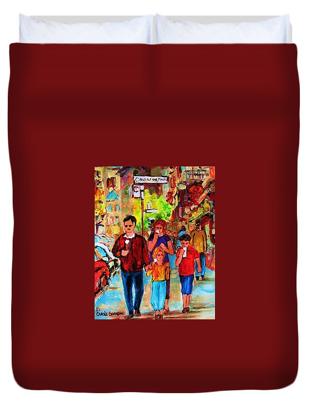 Montreal Streetscenes Duvet Cover featuring the painting Summer In The City by Carole Spandau