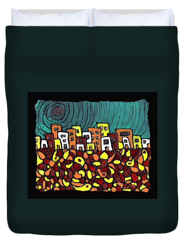 City Duvet Cover featuring the painting Summer In The City by Wayne Potrafka