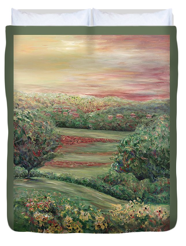 Landscape Duvet Cover featuring the painting Summer In Tuscany by Nadine Rippelmeyer