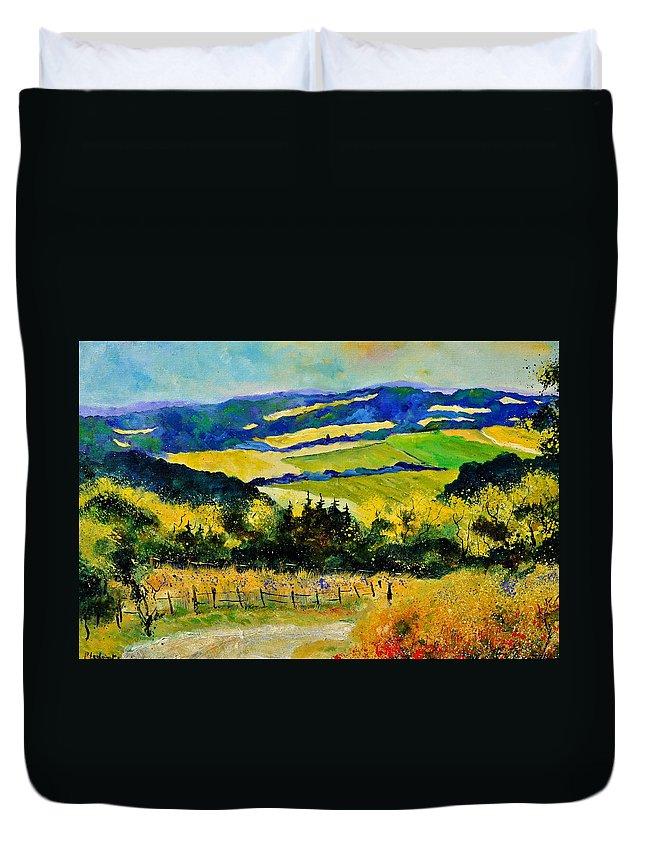 Landscape Duvet Cover featuring the painting Summer Landscape by Pol Ledent