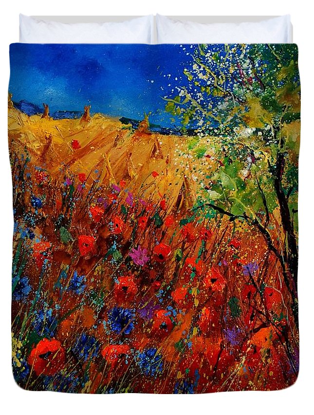 Flowers Duvet Cover featuring the painting Summer Landscape With Poppies by Pol Ledent