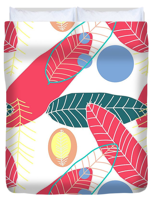 Summer Duvet Cover featuring the digital art Summer Leaf In Pink by Mark Ashkenazi