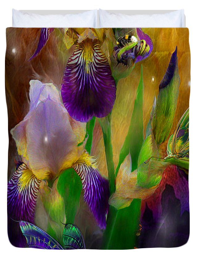 Iris Duvet Cover featuring the mixed media Summer Life by Carol Cavalaris