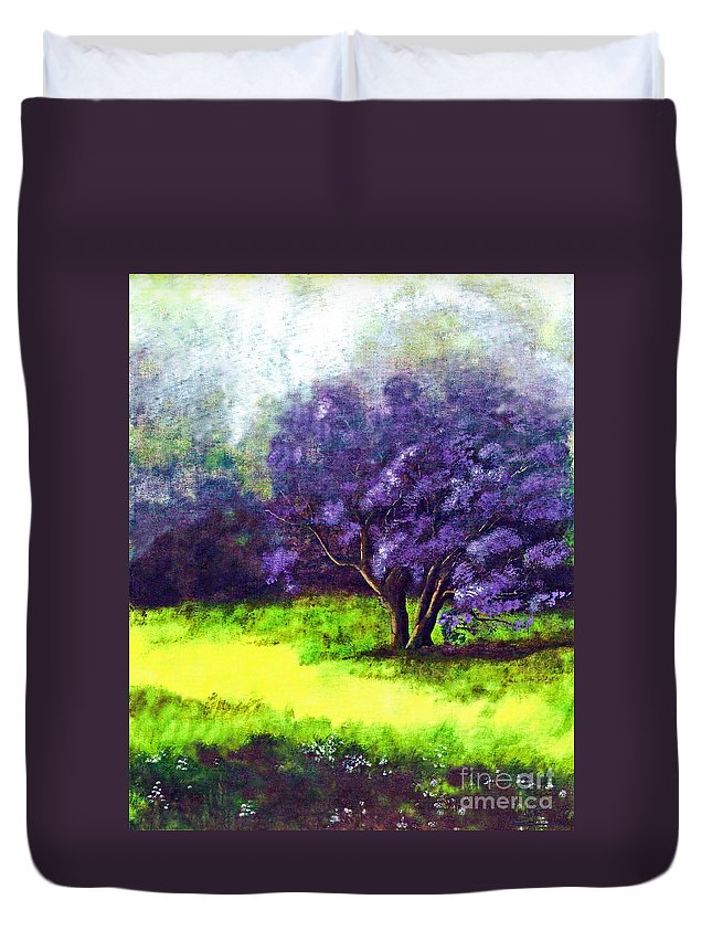 Fine Art Print Duvet Cover featuring the painting Summer Mist by Patricia Griffin Brett