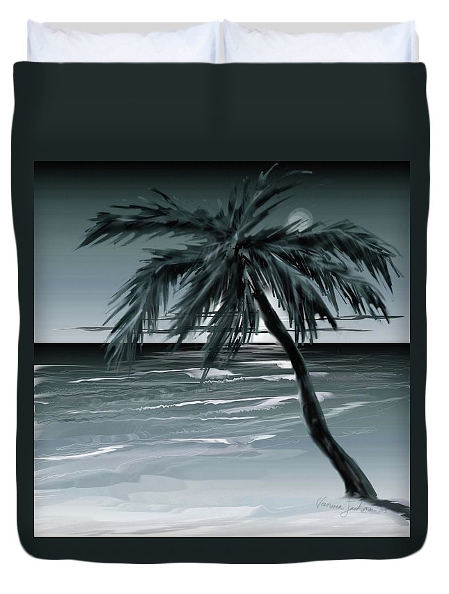 Water Beach Sea Ocean Palm Tree Summer Breeze Moonlight Sky Night Duvet Cover featuring the digital art Summer Night In Florida by Veronica Jackson