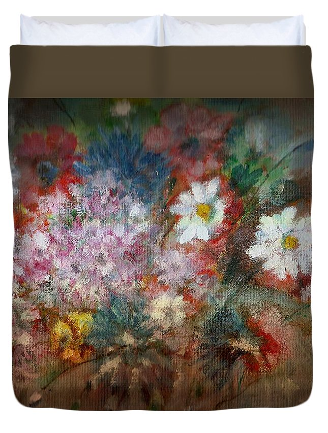 Poppies Duvet Cover featuring the painting Summer Night by Pepita Selles