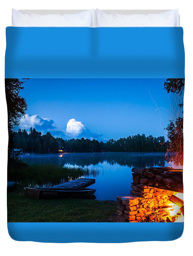 Campfire Duvet Cover featuring the photograph Summer Nights On The Pond by John Crookes