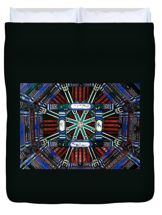 Beijing Duvet Cover featuring the photograph Summer Palace Ceiling by Carol Groenen