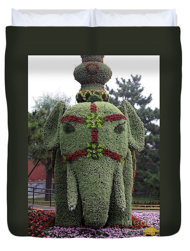Elephant Duvet Cover featuring the photograph Summer Palace Elephant 2 by Carol Groenen