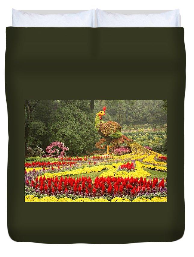 Phoenix Symbol Of Empress Duvet Cover featuring the photograph Summer Palace Flower Phoenix by Carol Groenen