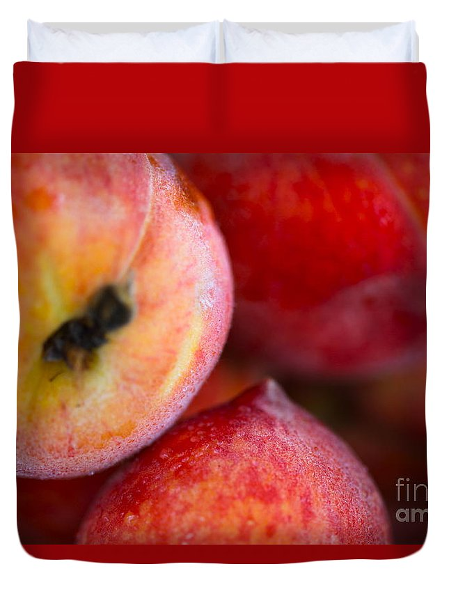 Peach Duvet Cover featuring the photograph Summer Peaches by Nadine Rippelmeyer