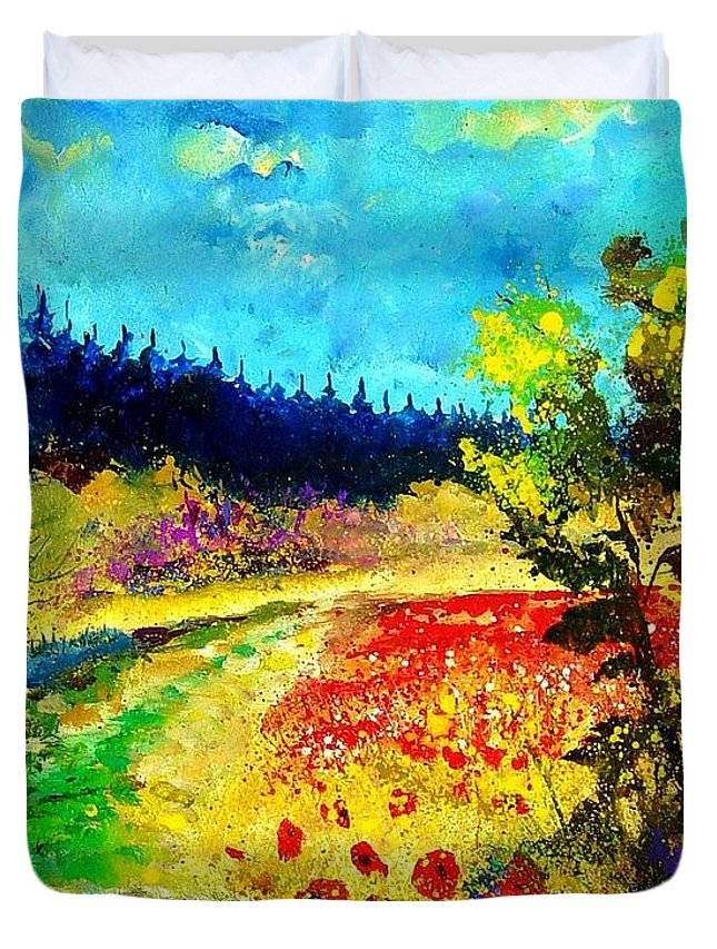 Flowers Duvet Cover featuring the painting Summer by Pol Ledent