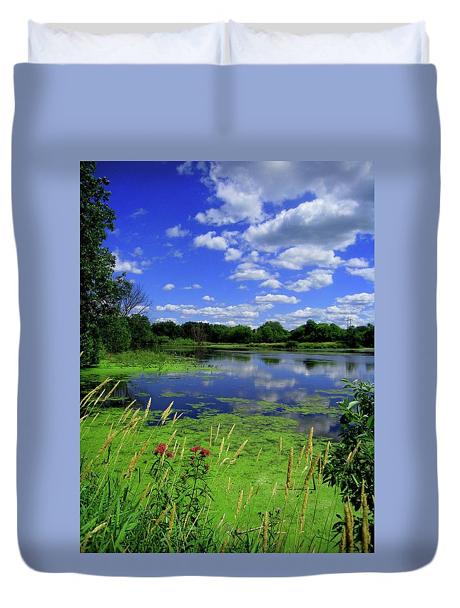 Sun Duvet Cover featuring the photograph Summer Pond by Jessica Killingbeck