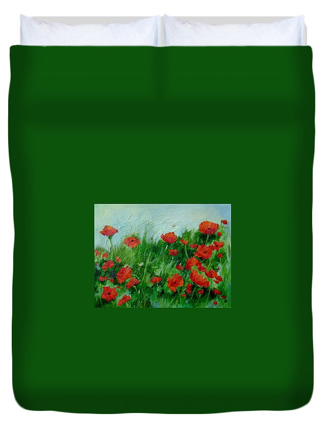 Red Poppies Duvet Cover featuring the painting Summer Poppies by Ginger Concepcion