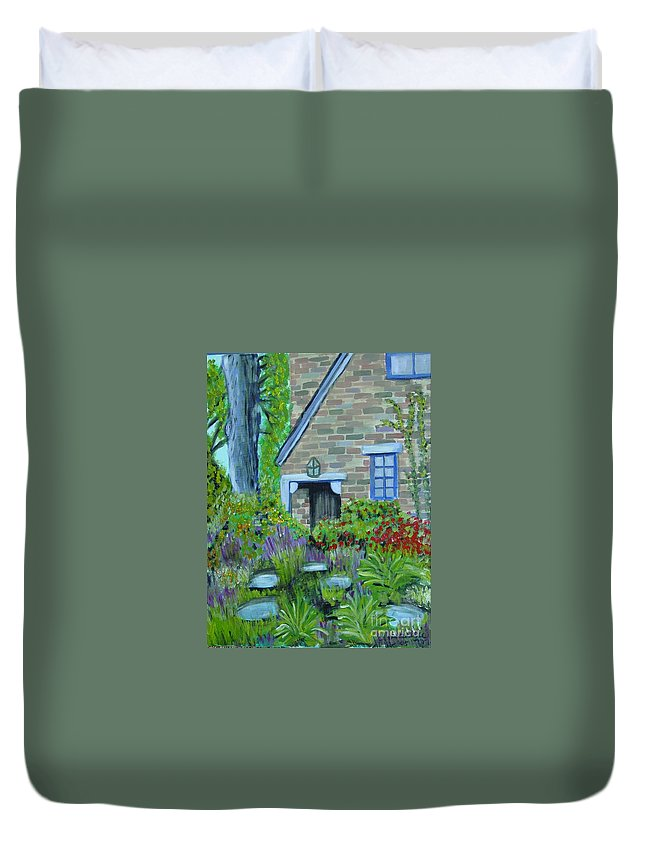 Cottage Duvet Cover featuring the painting Summer Retreat by Laurie Morgan