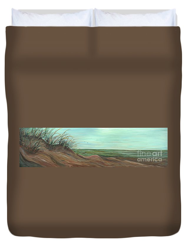 Summer Duvet Cover featuring the painting Summer Sand Dunes by Nadine Rippelmeyer