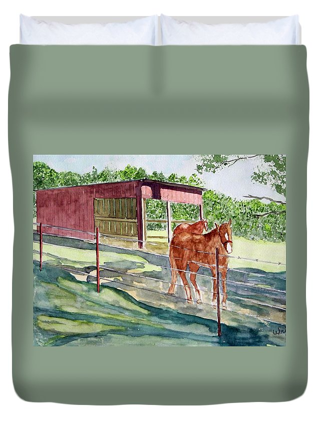 Horse Art Duvet Cover featuring the painting Summer Shade by Larry Wright