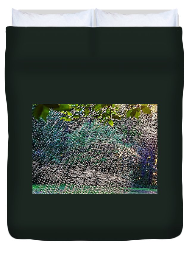Water Duvet Cover featuring the photograph Summer Sprinkler by Beth Deitrick