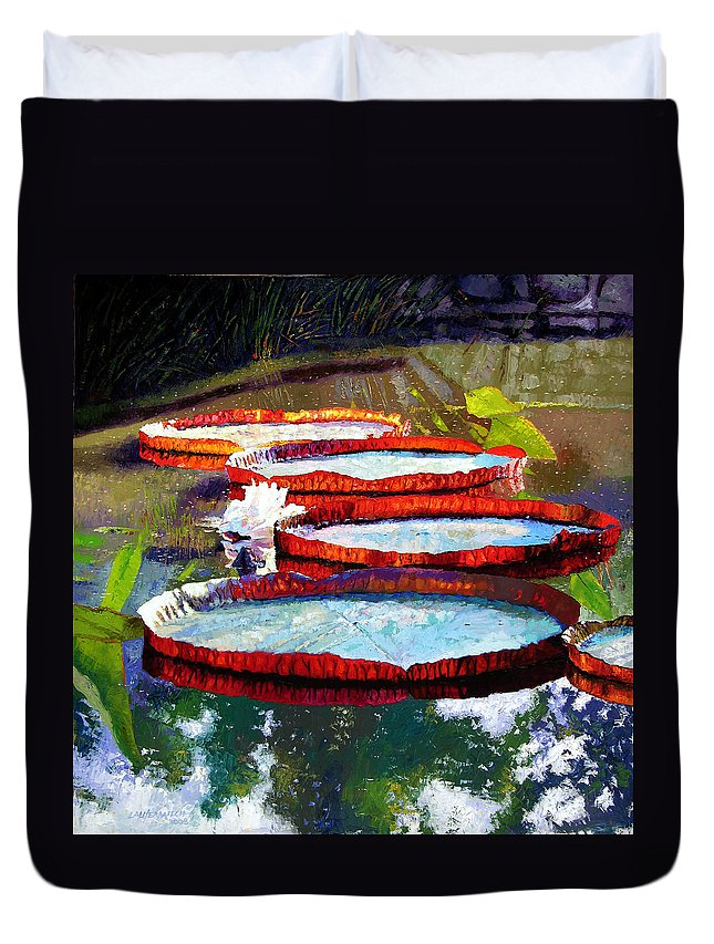 Water Lilies Duvet Cover featuring the painting Summer Sunlight On Lily Pads by John Lautermilch